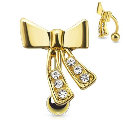 Gold Plated Top Down Ribbon Belly Bar with CZ Gems